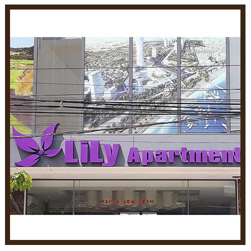 Làm bảng hiệu mặt tiền LiLy Apartment